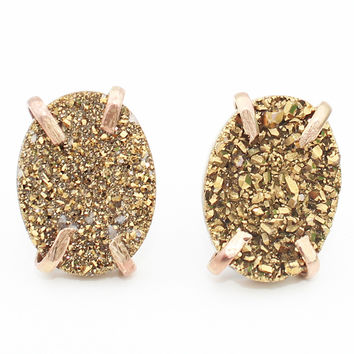 Titanium Gold Druzy Claw Prong Studs Earrings- Gold filled