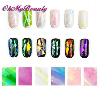 6 Pack Nail Sticker Broken Glass Water Decals Mirror Effect For Nails Art  Fancy Punk Galaxy Transfer Nail Foils
