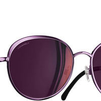 Burgundy Round Spring Chanel Sunglasses with Pink Mirror Lenses