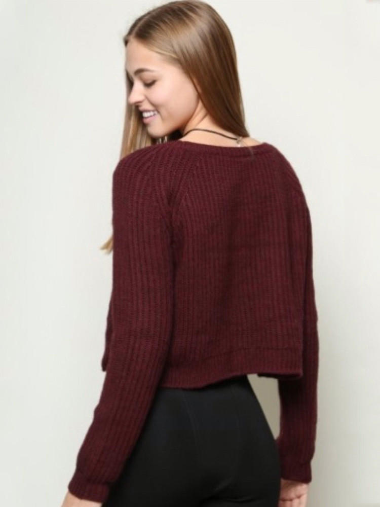 Wine Red Long Sleeve Knitted Short from Western Moon 86b139f36