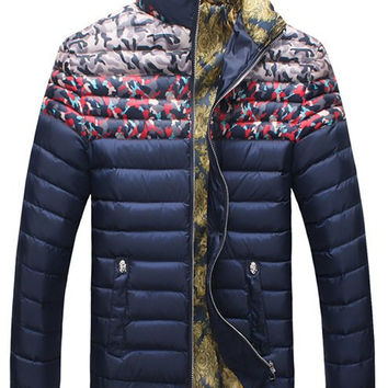 Camo Printed Stand Collar Long Sleeves Zippered Coat