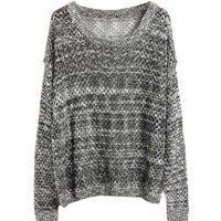 L 073010 b Mixed line hollow bat sleeve loose knit sweater