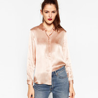 SATEEN BLOUSE WITH BACK DETAIL