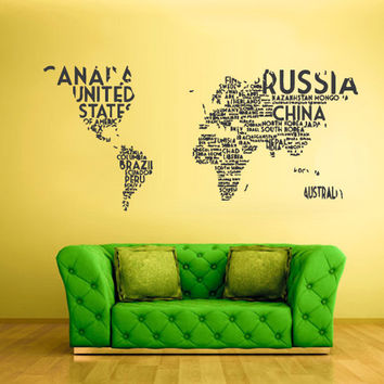 rvz811 Wall Vinyl Sticker Bedroom Decal World Map Country Words Quotes