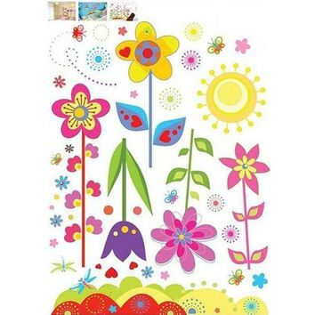DCCKU7Q Fashion Magic Decals Colorful Flowers of Sunshine Life Wall Sticker Living Room