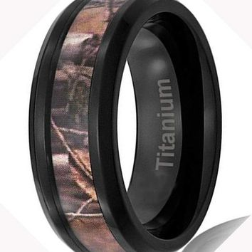 CERTIFIED 8MM Men's Titanium Hunting Ring Black Plated | Camouflage Inlay