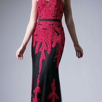 Sweetheart Neckline Appliqued Long Formal Dress Red/Black