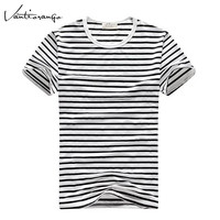 2017 Men's T-Shirts Vantiorango Summer O-Neck Striped T