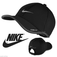 NEW Nike SWOOSH BASEBALL CAP *BLACK* PLAIN STORM FIT GOLF LIGHT FITTED PEAK HAT