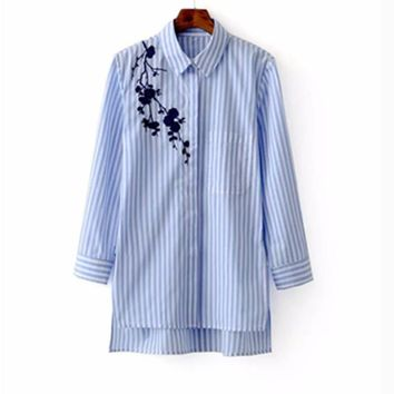 Women Embroidered Blouses Cotton Blue Striped Long Sleeve Shirt Turn-down Collar Top Camisas Femininas Blusa Bordada Autumn 2016