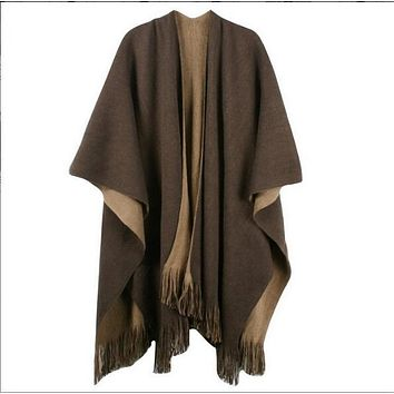 *online exclusive* oversize reversible cashmere poncho