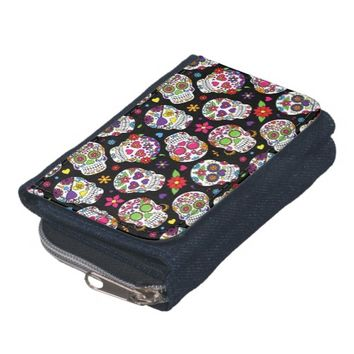 Colorful Sugar Skulls On Black Wallet