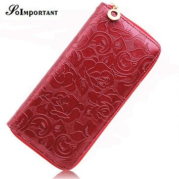 Floral Print Wallet Female Leather Purses Women Wallets Rose Flowers Luxury Brand Zipper Long Wallet Card Holder Clutch Handy