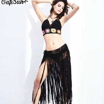 2017 Sexy summer beach resort-style fringed skirt retro fashion items tropical style single product