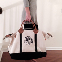 Monogram Weekender Bag Canvas Tote Carry On Bag Make Up Bag Cosmetic Bag Two Piece Luggage Set Monogrammed Personalized Gift