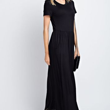 Black Laser Cut Pocketed Maxi Dress