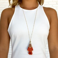 Orange Fringe & Bead Necklace