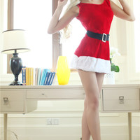 Red Sleeveless Mini Dress Christmas Costume