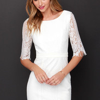 Kiss and Run Ivory Lace Dress
