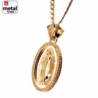 "Jewelry Kay style Men's Fashion Gold Toned Virgin Mary Guadalupe 24"" Cuban Chain Pendant Necklace"