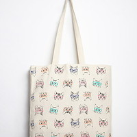 Cat Print Canvas Tote