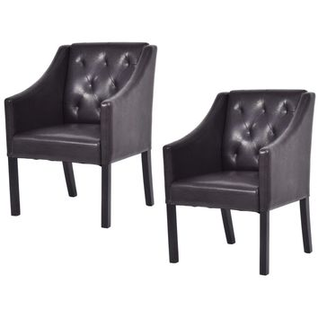 Costway Set of 2 Accent Arm Chair PU Leather