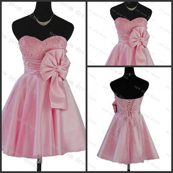 Pink satin with pearls with bow pleated homecoming dress ,cocktail dress