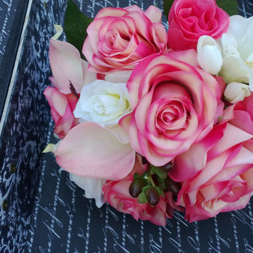 6 piece Vintage Style Wedding Set, Pink Bouquet, Pink Ivory Bouquet, Coral Bouquet, Guava Bouquet, Real Touch Bouquet, Rose Bouquet, Calla
