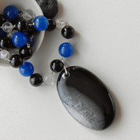 Chunky black agate pendant and necklace