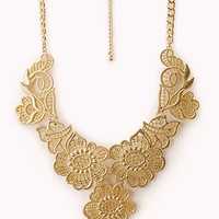 FOREVER 21 Opulent Cutout Bib Necklace Gold One
