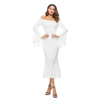 2019 Office Lady Casual Off Shoulder Maxi Dress Women Long Sleeve Bodycon Long Mermaid Formal Party Dresses Elegant Clothing