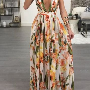 White Draped Spaghetti Strap Deep V-neck Flowy Vegas Bohemian Elegant Party Maxi Dress