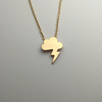 Storm Cloud Necklace Cute little lightning bolt coming from a cloud great for those who love weather meteorologists atmosphere scientists