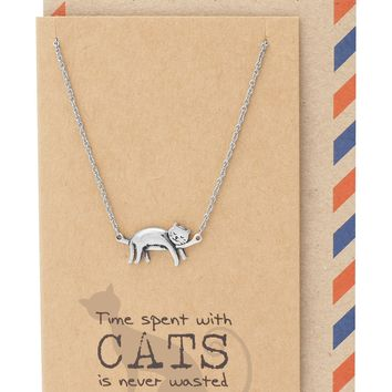 Keira Cat Necklace Quotes Greeting Card, Gifts for Cat Lovers