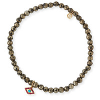 Sydney Evan Champagne Pyrite Beaded Bracelet with Ruby & Turquoise Evil Eye Charm