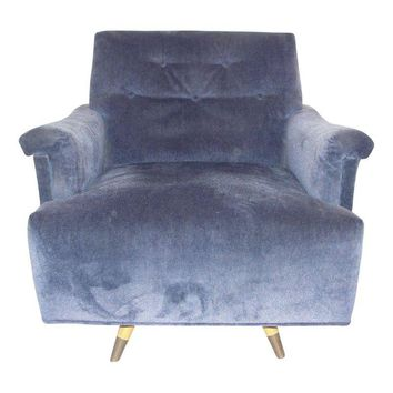 Pre-owned Mid-Century Periwinkle Velvet Swivel Chair
