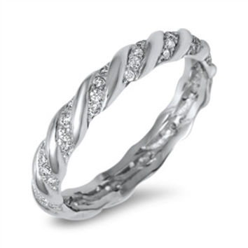 925 Sterling Silver CZ Simulated Diamond Twisted Diagonal Striped Eternity Ring 4MM