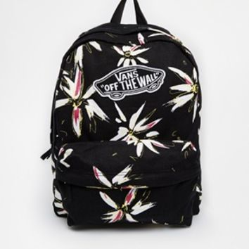 Vans Realm Backpack in Black Floral Print at asos.com