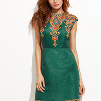 Green Round Neck Cap Sleeve Vintage Print Jacquard Dress