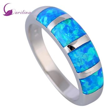 New 2017 Opal rings Fine Jewelry rings for women Blue Fire Opal 925 Sterling Silver Filled Wedding Party Engagement Rings R519