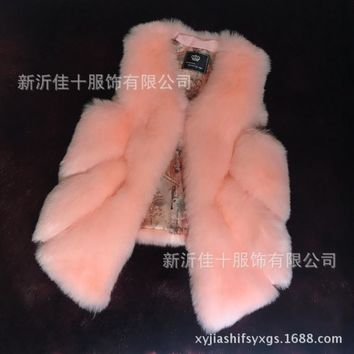 Casual women puffer vest factory china supplier keep warm luxury fake raccoon fur vest for girls