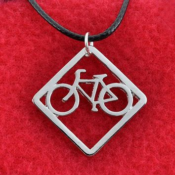 Bicycle Bike Necklace Jewelry Leather Necklace Bicycle Bike Pendant Necklaces Collier Femme 2pcs