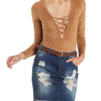 Camel Long Sleeve Lace-Up Bodysuit by Charlotte Russe