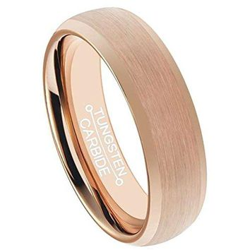 6mm Rose Gold Tungsten Carbide Ring Fashion Wedding Engagement Band Matte Finish Domed