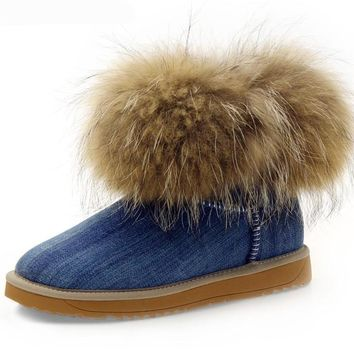 Famous Women's Winte Boots Real Fox Fur and Wool Snow Boots for Women Winter Shoes Warm Women's Winter Shoes