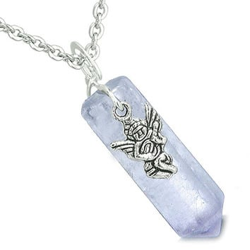 Amulet Archangel Raphael Magic Wand Crystal Point Amethyst Pendant 22 Inch Necklace