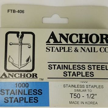 "Stainless Steel Staples, 1/2"" (1000)"