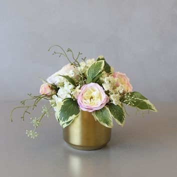 Greenery Leaves with Roses Floral Arrangement in Gold Metal Vase