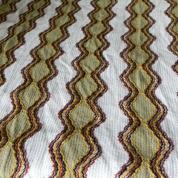 Vintage curtain panel chevron pattern 46 inch wide avocado green brown drapery fabric open weave
