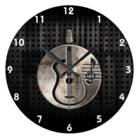 Rugged Acoustic Guitar Round Wallclock